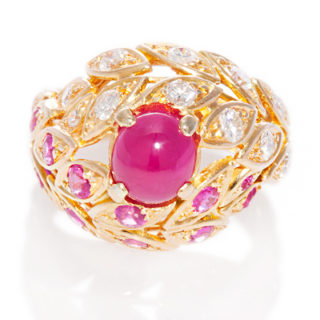 ***SOLD*** Bombe style... Ruby and Diamond Vintage ring-0