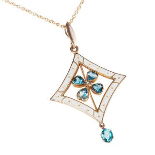 ***SOLD*** Art Nouveau Enamel and Aquamarine pendant-0