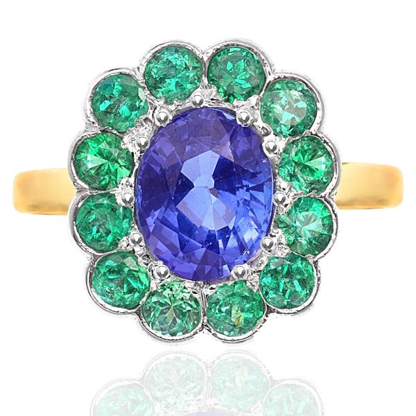 Tanzanite and Emerald Art Deco style ring -0