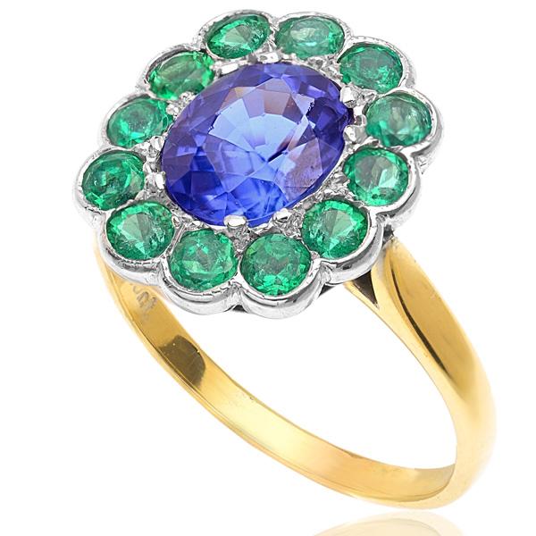 Tanzanite and Emerald Art Deco style ring -3246