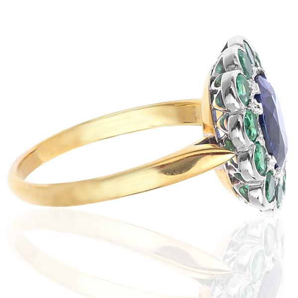 Tanzanite and Emerald Art Deco style ring -3247