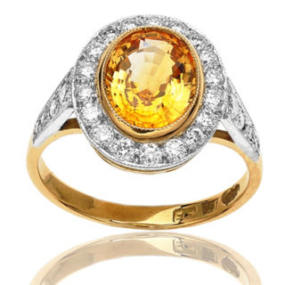 Hello Sunshine... Golden Sapphire and Diamond ring-645