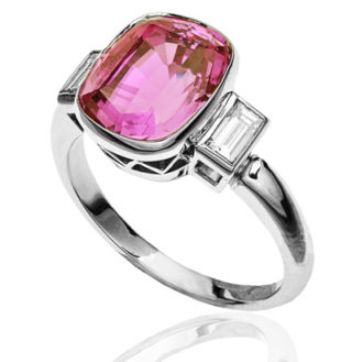 Helen Badge... Pink Sapphire and Diamond ring-1815