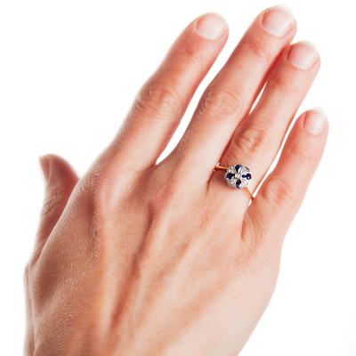 London Daisy... Original Art Deco Sapphire and Diamond ring-861