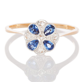 London Daisy... Original Art Deco Sapphire and Diamond ring-0