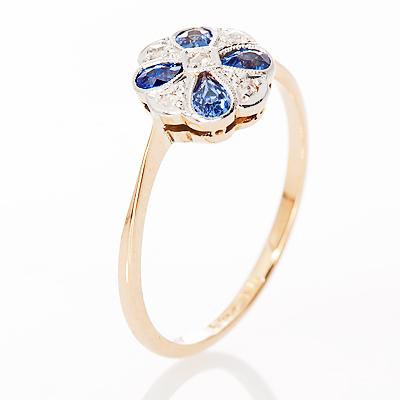 London Daisy... Original Art Deco Sapphire and Diamond ring-858