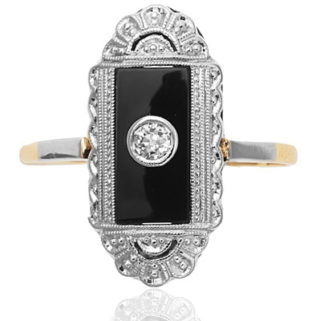 ***SOLD*** Original 1920s Onyx and Diamond ring-0
