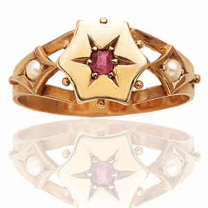 What a star... Antique Ruby and Pearl ring-0