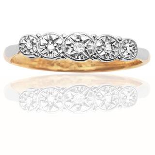 ***SOLD*** Five Stars... Art Deco Platinium Diamond ring-0