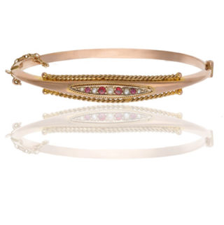 ***SOLD*** Victorian Ruby and Pearl Bangle -0