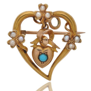 Two Hearts... Turquoise and Pearl Brooch/Pendant-0