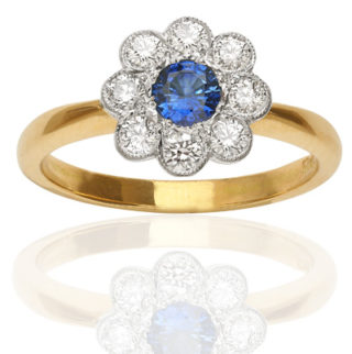 ***SOLD*** Perfect Blue... Sapphire and Diamond Daisy ring-0