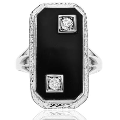 ***SOLD*** Dramatic... Original Art Deco Onyx and Diamond ring-0