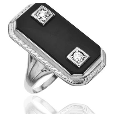 ***SOLD*** Dramatic... Original Art Deco Onyx and Diamond ring-1782