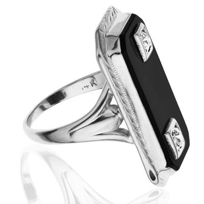***SOLD*** Dramatic... Original Art Deco Onyx and Diamond ring-1783
