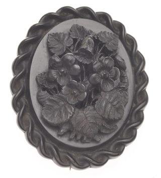 ***SOLD***Large Carved Victorian Bog Oak Brooch-0