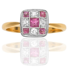 Stunning... Original Art Deco Ruby and Diamond ring-1926