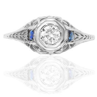 ***SOLD*** Superb... Original 1920s Diamond and Sapphire ring-0