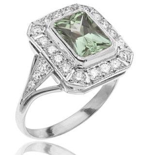***SOLD*** Dazzling... Mint Tourmaline and Diamond ring -2057