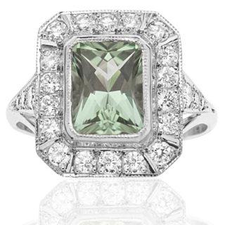 ***SOLD*** Dazzling... Mint Tourmaline and Diamond ring -0