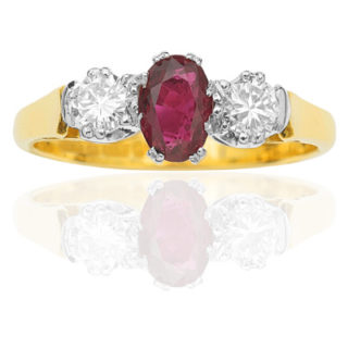 ***SOLD*** Art Deco Style 'Trilogy' Ruby and Diamond ring-2019