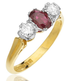 ***SOLD*** Art Deco Style 'Trilogy' Ruby and Diamond ring-0