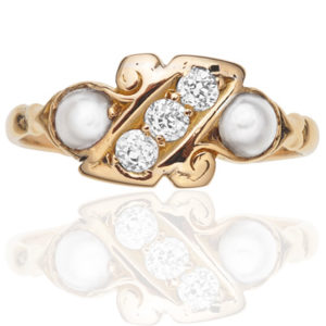 Victorian Diamond and Pearl ring-2087