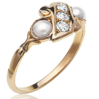 Victorian Diamond and Pearl ring-0