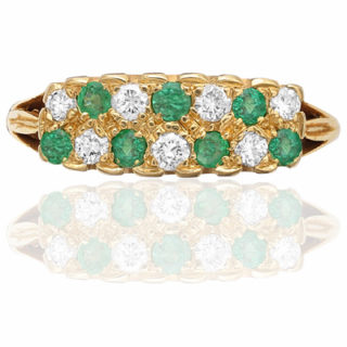 ***SOLD*** Striking... 1940s Emerald and Diamond ring-0