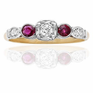 ***SOLD*** Original 1920s Ruby and Diamond Engagement ring-0