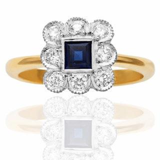 Wonderful... Art Deco Style Sapphire and Diamond ring-0