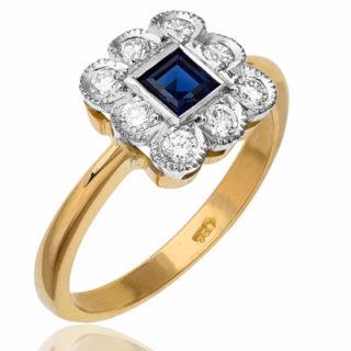 Wonderful... Art Deco Style Sapphire and Diamond ring-2179