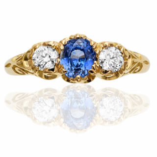***SOLD*** Cornflower Blue... Sapphire and Diamond Trilogy ring-0