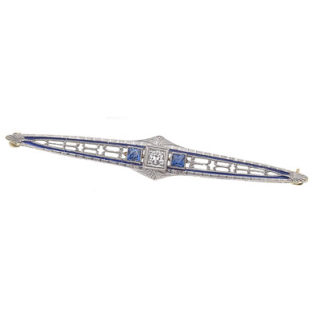 Ooh La La... French Sapphire & Diamond Art Deco Brooch-0