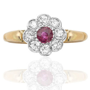 Daisy Delight... Original 1920s Ruby and Diamond ring-0