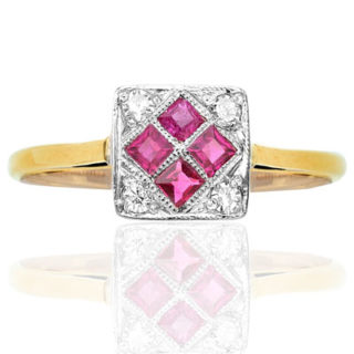 ***SOLD*** Fire and Ice... Original Ruby and Diamond Art Deco ring-0