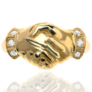 ***SOLD*** Me and You... Clasped Hands Diamond Gold ring-0