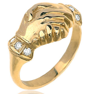 ***SOLD*** Me and You... Clasped Hands Diamond Gold ring-2389