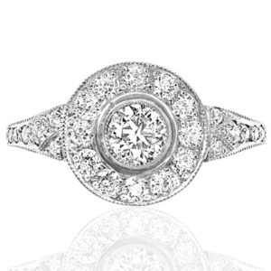 Fire and Sparkle... Superb Art Deco Style Diamond Daisy ring-0