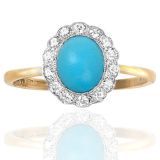***SOLD*** Suberb... Art Deco Turquoise and Diamond ring-0