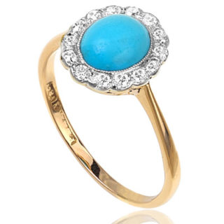 ***SOLD*** Suberb... Art Deco Turquoise and Diamond ring-2464