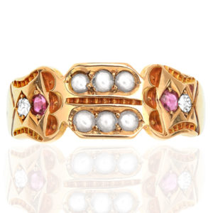 Antique Ruby, Pearl and Diamond ring-0