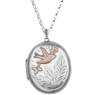 ***SOLD*** Bird of LOVE... Antique Sterling Silver locket and chain-0