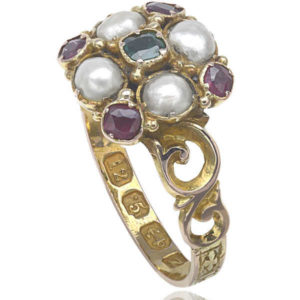 Suffragette... Antique Emerald, Garnet and Pearl ring -2599