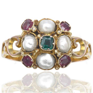 Suffragette... Antique Emerald, Garnet and Pearl ring -0