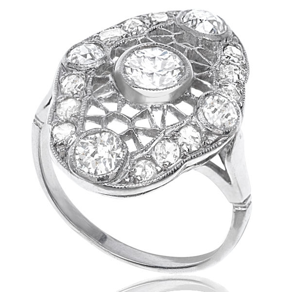 Web of Dreams... Original 1920s Platinum Diamond ring-2595