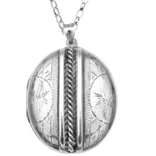 ***SOLD*** Large Antique Silver locket and chain-0