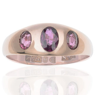 Antique Rose Gold Garnet Gypsy ring -0