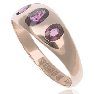Antique Rose Gold Garnet Gypsy ring -2629