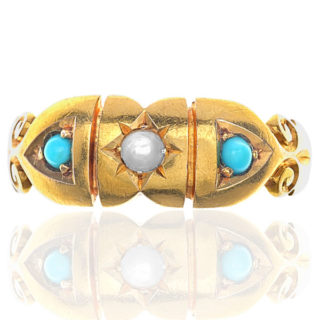 Pretty... Original Victorian Pearl and Turquoise ring -0